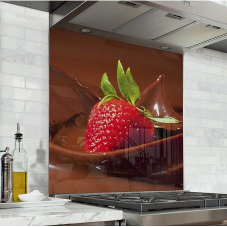 Fond de hotte avec fraise et chocolat