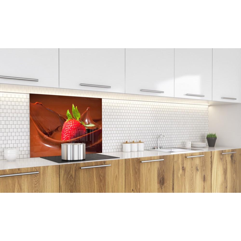fond de hotte fraise et chocolat verre alu credence cuisine deco. Black Bedroom Furniture Sets. Home Design Ideas