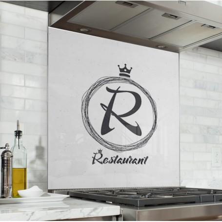 Fond de hotte blanc avec imprimé restaurant