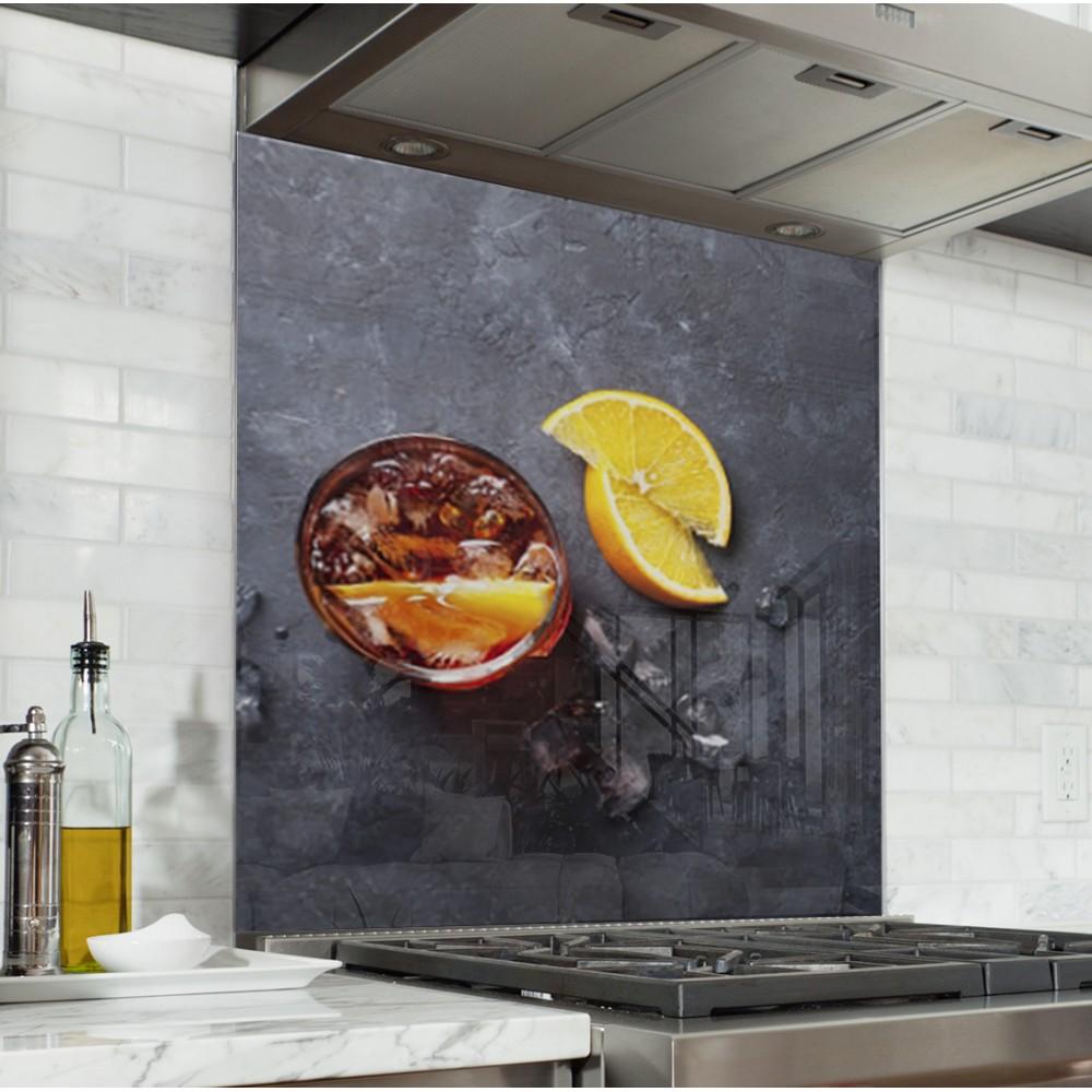 Fond de hotte quartiers de citron verre alu credence - Credence cuisine orange ...