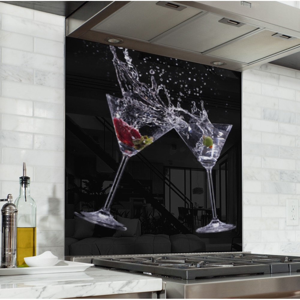 Fond de hotte verres cocktail verre et alu credence cuisine deco - Credence fond de hotte ...