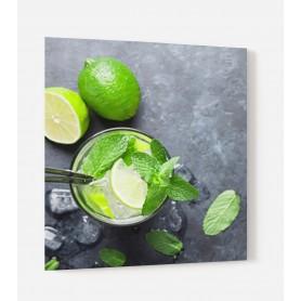 Fond de hotte avec citron vert feuilles de menthe