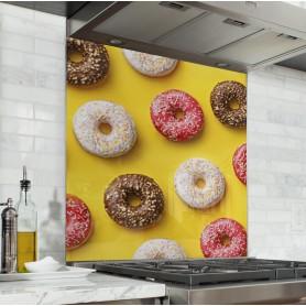 Fond de hotte jaune avec motif donuts : vanille, chocolat, fraise