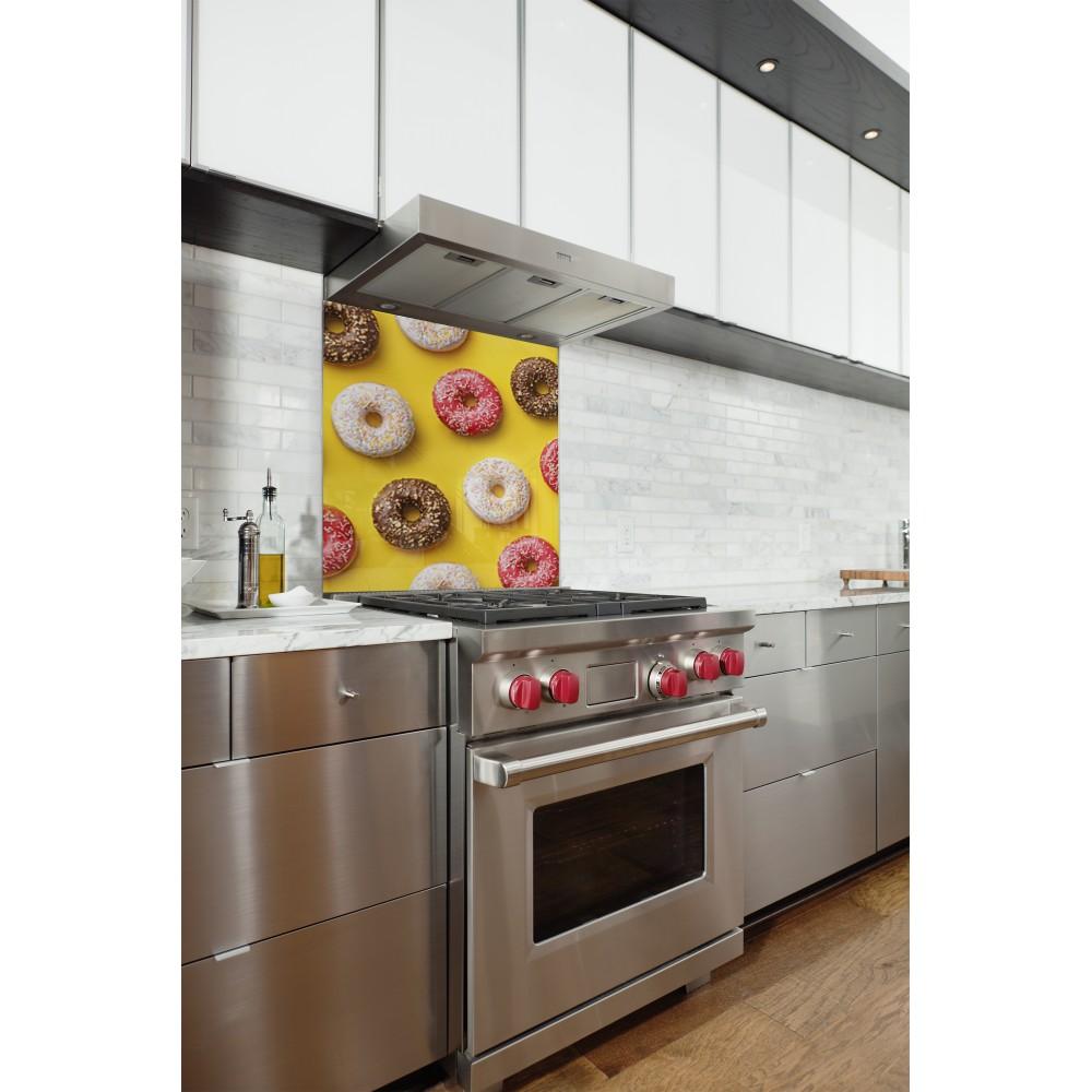 Acheter fond de hotte imprim donuts jaune 60x70 cm - Credence cuisine fantaisie ...