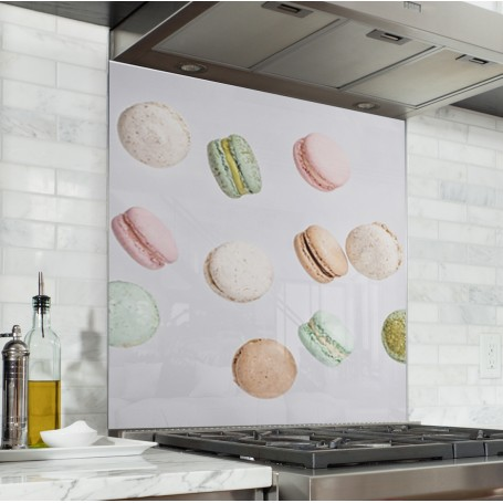 Fond de hotte crème avec variété de macarons pastels