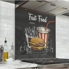 Fond de hotte noir effet ardoise avec dessin Menu Fast food couleur