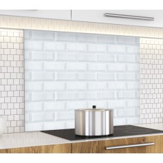 fond de hotte effet brique blanche verre alu credence cuisine deco. Black Bedroom Furniture Sets. Home Design Ideas