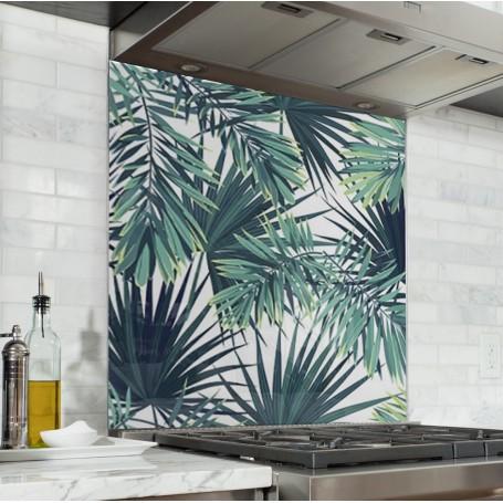 Fond de hotte blanc avec motifs feuilles jungle