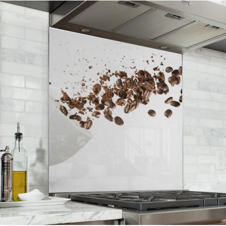 Fond de hotte blanc avec explosion grains de café
