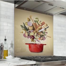 Fond de hotte marron clair avec casserole rouge et ingrédients de cuisine