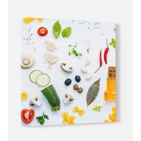 Fond de hotte blanc avec diversité de légumes