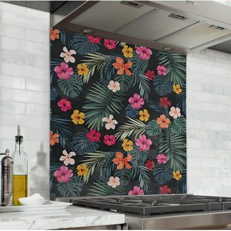 Fond de hotte noir motif jungle avec fleurs exotiques