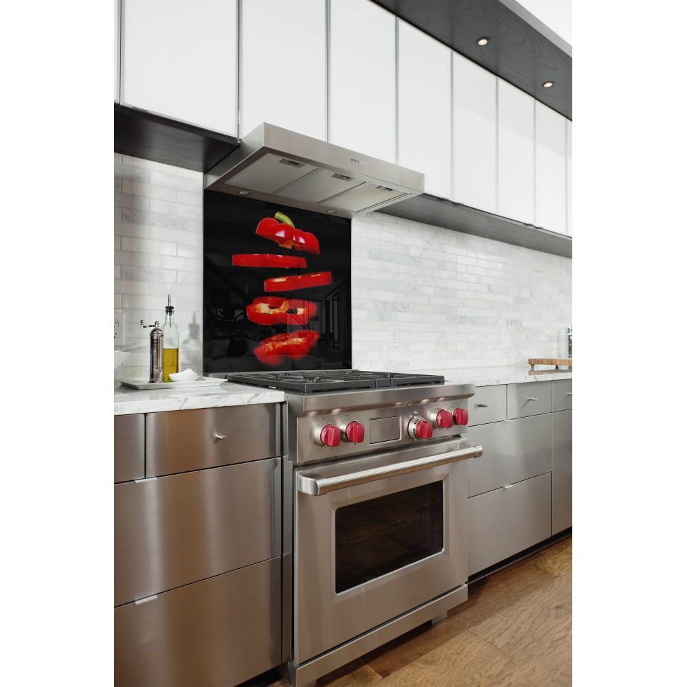 Fond pour hotte de cuisine poivron rouge noir a coller - Credence cuisine facile a poser ...