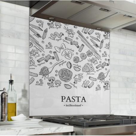 Fond de hotte blanc avec dessins Pasta