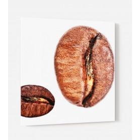 Fond de hotte blanc avec deux gros grains de café