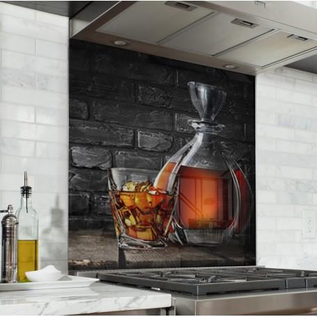 Fond de hotte avec carafe et verre de cognac