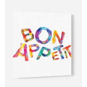 Fond de hotte blanc avec incription Bon Appétit lettres multicolores