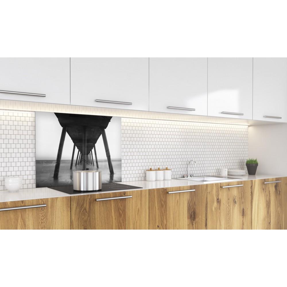Fond de hotte noir blanc pont verre et alu credence cuisine deco - Fond de hotte verre noir ...