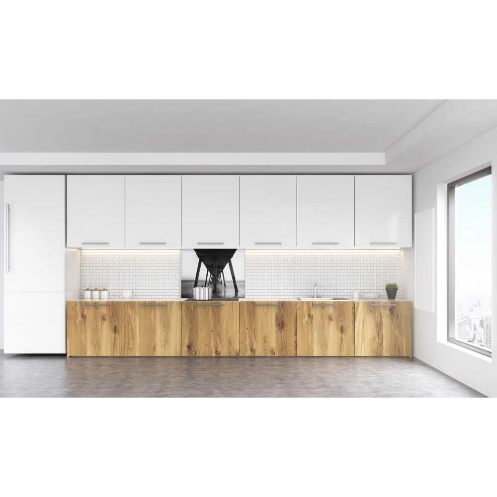 fond de hotte noir blanc pont verre et alu credence cuisine deco. Black Bedroom Furniture Sets. Home Design Ideas