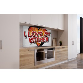 "Fond de hotte style pop avec inscription ""I love my kitchen"""
