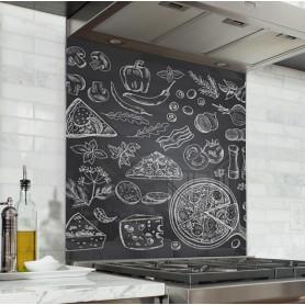 Fond de hotte effet ardoise avec ingrédients pizza dessinés à la craie