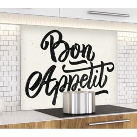 Fond de hotte blanc avec écriture noire Bon Appétit