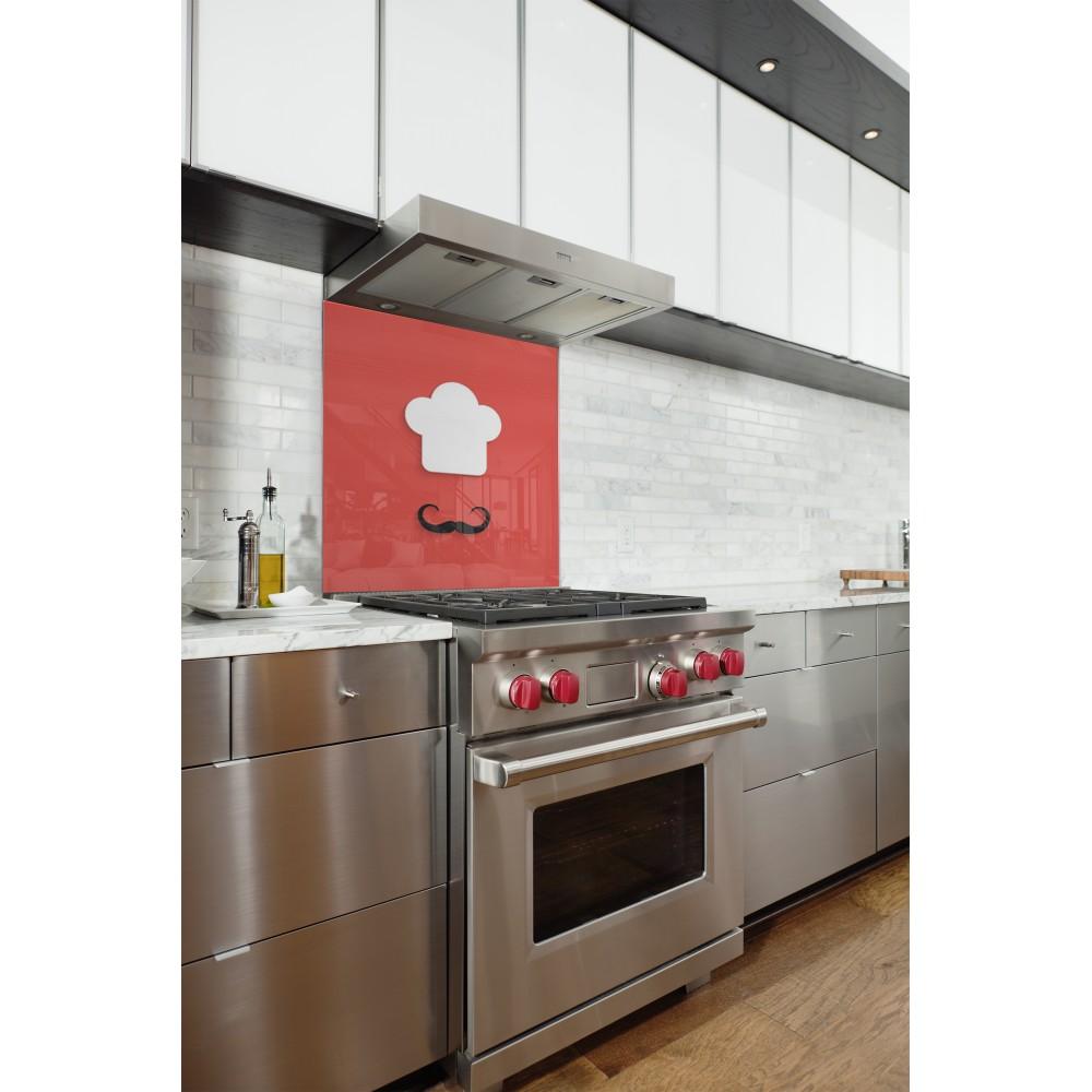 fond de hotte rouge cuisto italien verre alu credence cuisine deco. Black Bedroom Furniture Sets. Home Design Ideas