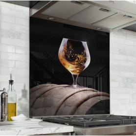 """Fond de hotte """"Verre de Cognac sur tonneau"""""""