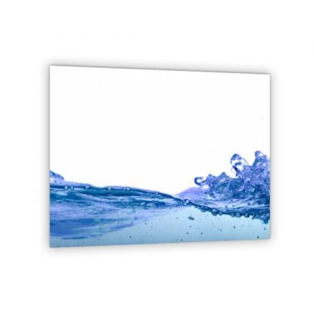 Crédence de cuisine blanche avec vague bleue