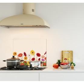 Crédence de cuisine avec décor tournesols colorés