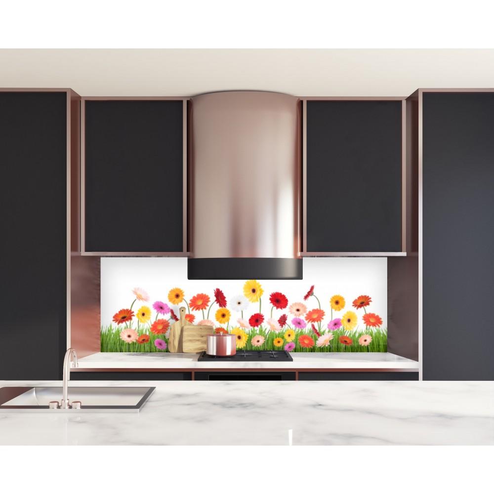 cr dence de cuisine tournesols verre et alu credence cuisine deco. Black Bedroom Furniture Sets. Home Design Ideas