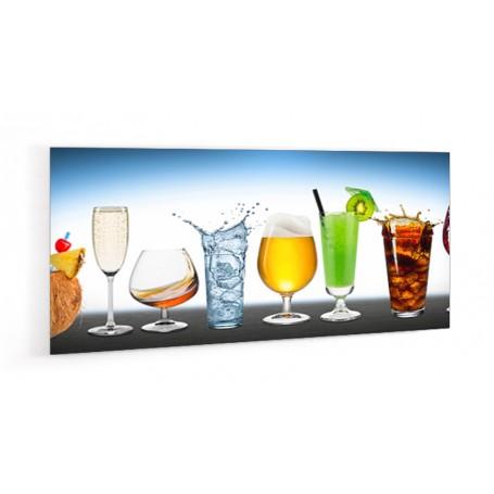 Crédence de cuisine divers cocktails sur fond bleu