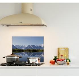 Crédence de cuisine paysage montagnes avec neige Mont Blanc