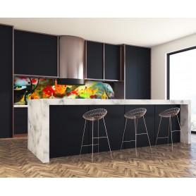 Crédence de cuisine effet aquarelle peinture multicolore