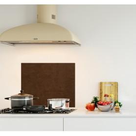Crédence de cuisine effet texture cuir marron