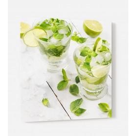 Fond de hotte blanc avec citron vert et menthe, façon Mojito