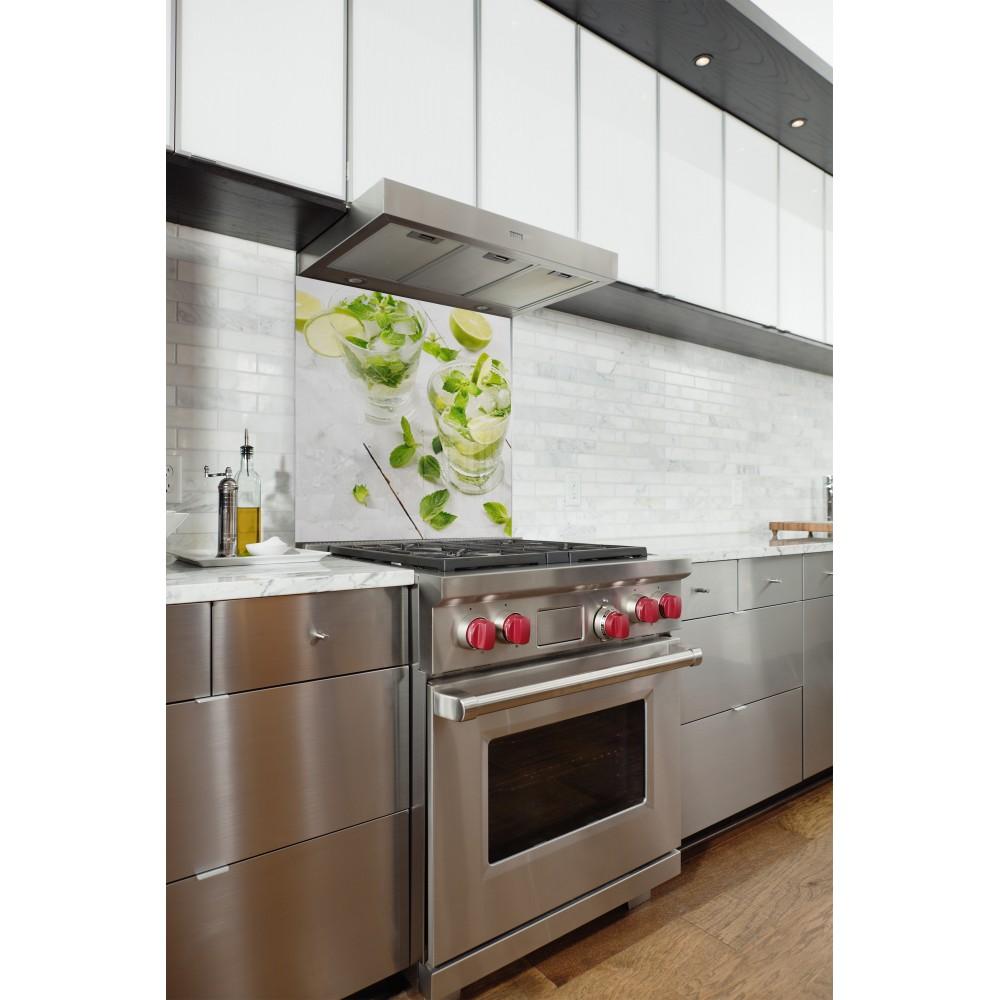 fond de hotte mojito citron vert verre alu credence. Black Bedroom Furniture Sets. Home Design Ideas