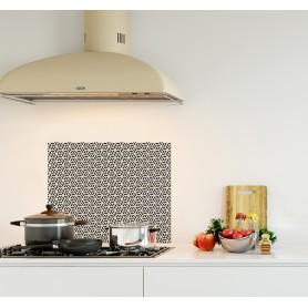 Crédence de cuisine motif géométrique monochrome noir blanc