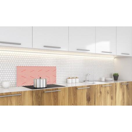 Crédence de cuisine zigzag rouge et blanc