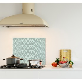 Crédence de cuisine avec motif géométrique chevron bleu azur et blanc