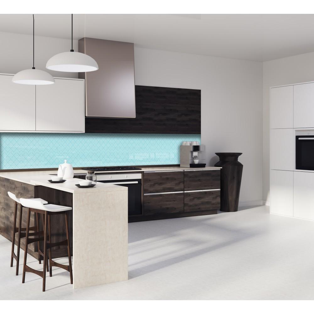 cr dence bleu blanc g om trique verre et alu credence cuisine deco. Black Bedroom Furniture Sets. Home Design Ideas
