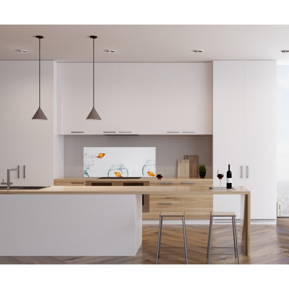 cr dence bocal poissons rouges verre et alu credence cuisine deco. Black Bedroom Furniture Sets. Home Design Ideas
