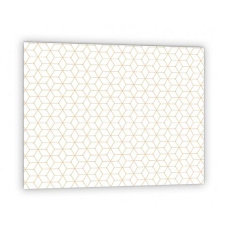 Crédence de cuisine blanche avec motifs géométrique or