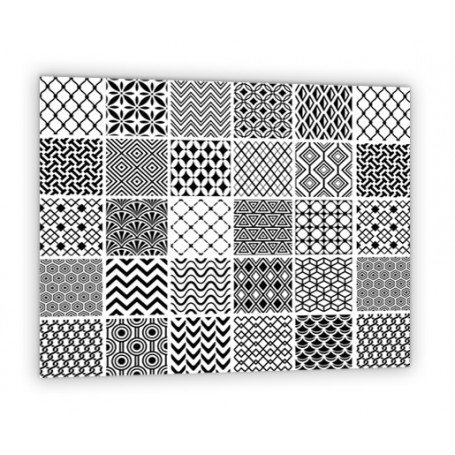 Crédence de cuisine effet carreaux de ciment géométrique noir et blanc