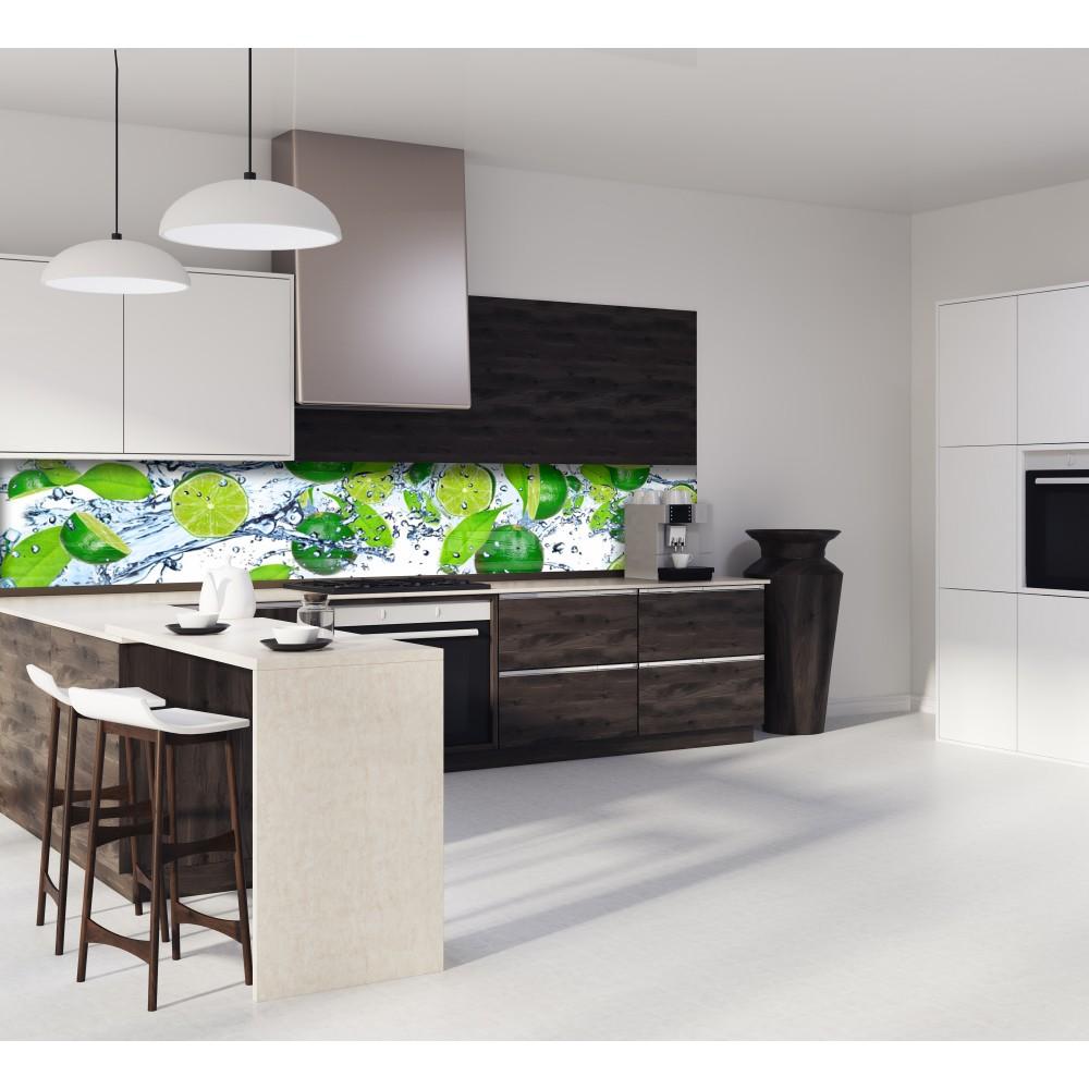 cr dence citron vert dans l 39 eau verre et alu credence. Black Bedroom Furniture Sets. Home Design Ideas