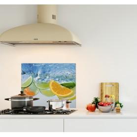 Crédence de cuisine agrumes dans l'eau : citron orange