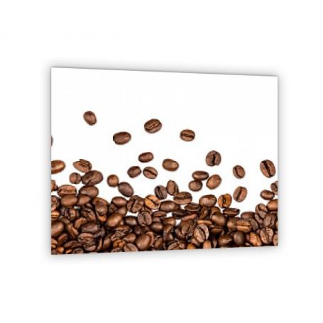 Crédence de cuisine blanche avec grains de café