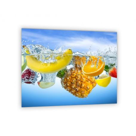 Crédence de cuisine avec fruits exotiques : banane, ananas, mangue
