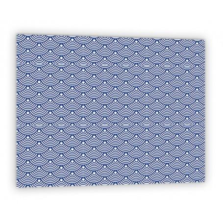 Crédence de cuisine bleue avec motifs vagues japonaises