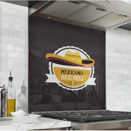 Fond de hotte noir avec motif mexicain jaune blanc et orangé